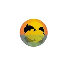 Dolphins at sunset Mini Button (10 pack)