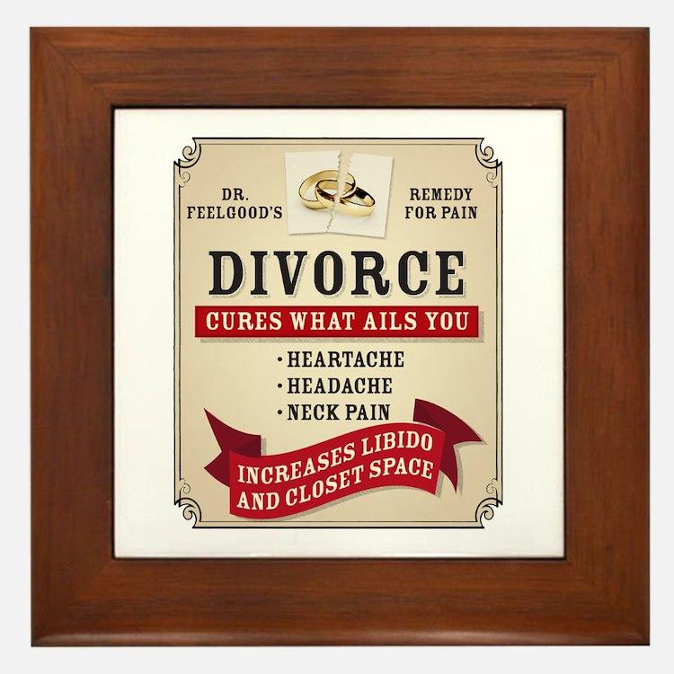 Medicinal Divorce Label Framed Tile