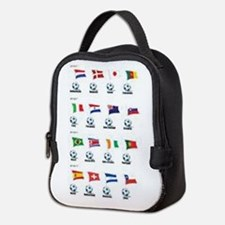 Soccer Balls And Flags Neoprene Lunch Bag
