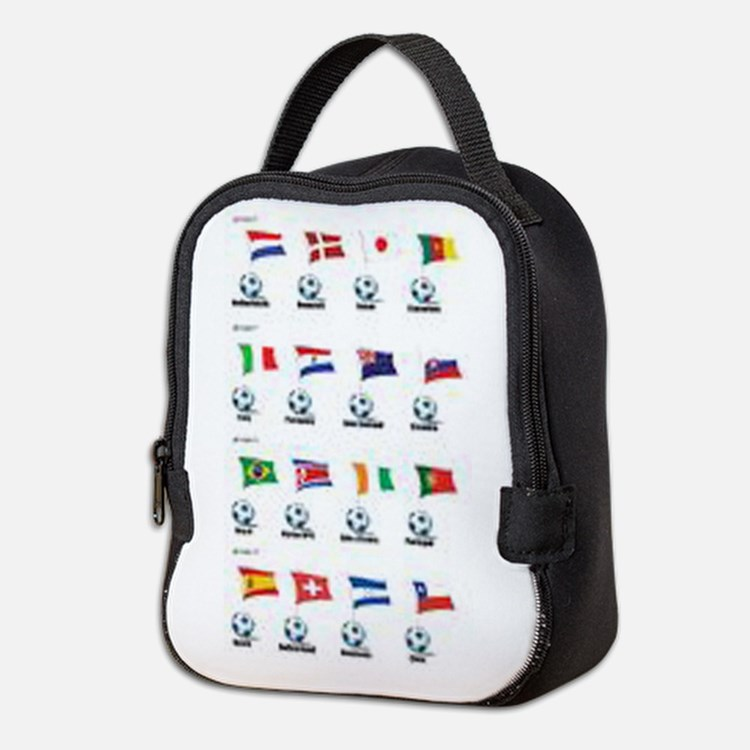 Soccer Balls And Flags Neoprene Lunch Bag