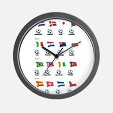Soccer Balls And Flags Wall Clock