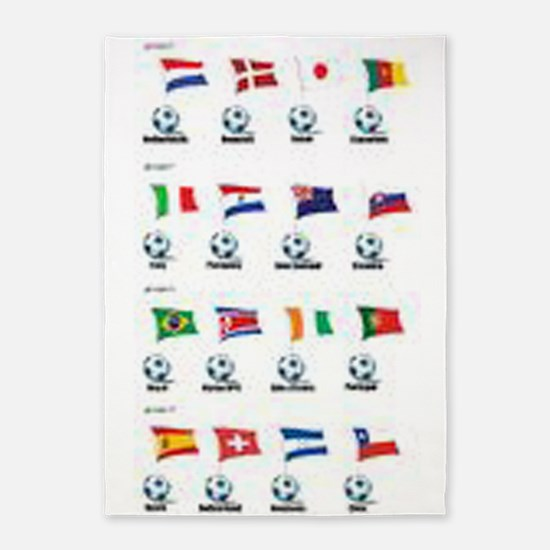 Soccer Balls And Flags 5'x7'area Rug