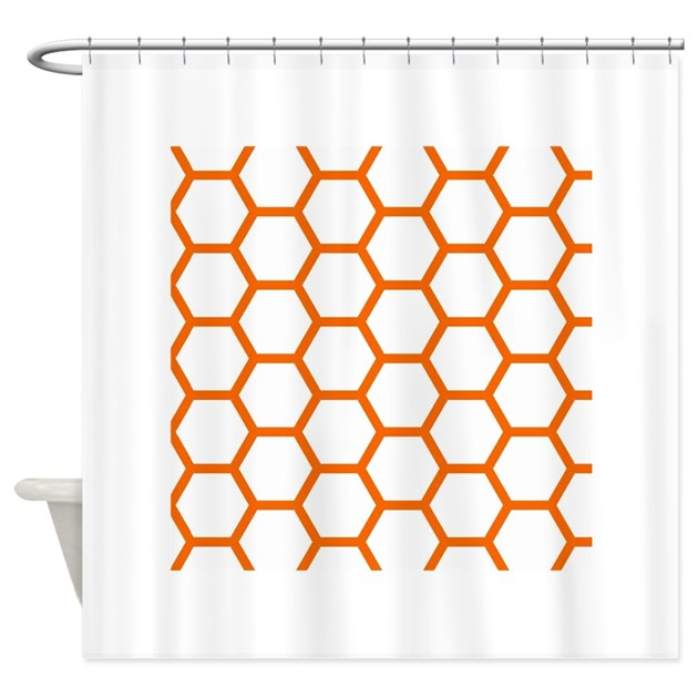 Orange And White Honeycomb Shower Curtain By Allcolor