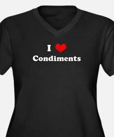 I Love Condiments  Women's Plus Size V-Neck Dark T