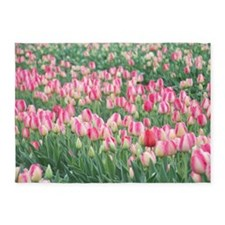 Pink and White Tulips 5'x7'Area Rug