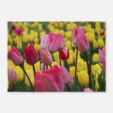 Pink and Yellow Tulips 5'x7'Area Rug