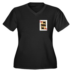 Queen Chow Women's Plus Size V-Neck Dark T-Shirt