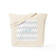 Gray Chevron Teal Monogram Tote Bag
