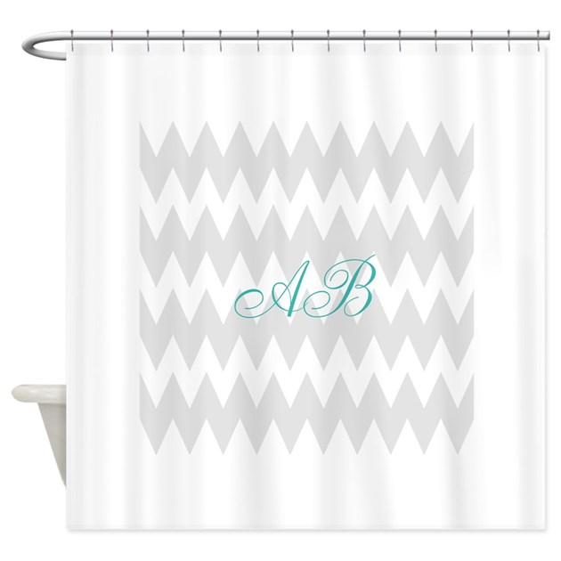 Gray Chevron Teal Monogram Shower Curtain By Metarla5