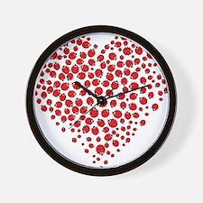 Heart of Ladybugs Wall Clock