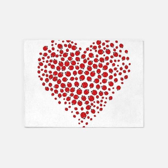 Heart of Ladybugs 5'x7'Area Rug