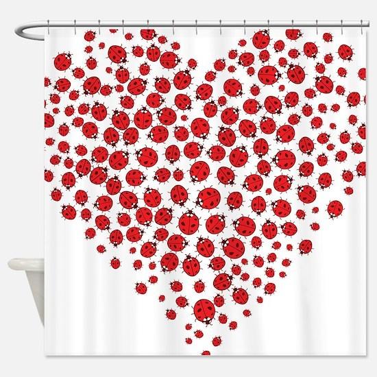 Heart of Ladybugs Shower Curtain
