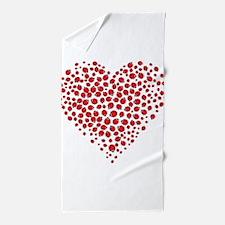 Heart of Ladybugs Beach Towel