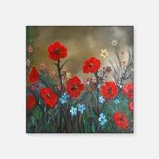 "Poppy Garden Love Square Sticker 3"" x 3"""