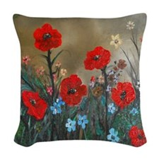 Poppy Garden Love Woven Throw Pillow