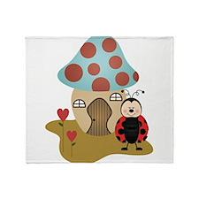 ladybug with house Throw Blanket