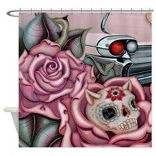 SUGAR SKULL ROSES Shower Curtain