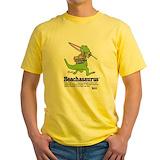 Beachasaurus Mens Yellow T-shirts