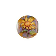 Sunflower, floral art, Mini Button