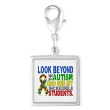 Look Beyond 2 Autism Students Silver Square Charm