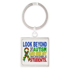 Look Beyond 2 Autism Students Square Keychain