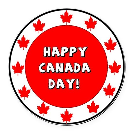Happy Canada Day Round Car Magnet