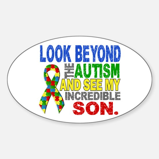 Look Beyond 2 Autism Son Sticker (Oval)
