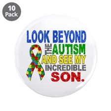 """Look Beyond 2 Autism Son 3.5"""" Button (10 pack)"""