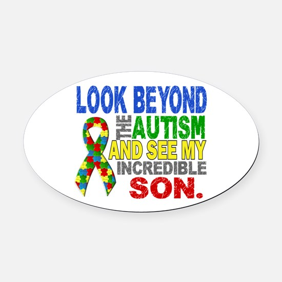 Look Beyond 2 Autism Son Oval Car Magnet