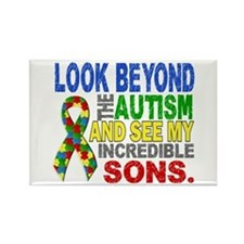 Look Beyond 2 Autism Sons Rectangle Magnet