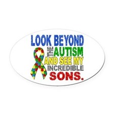 Look Beyond 2 Autism Sons Oval Car Magnet