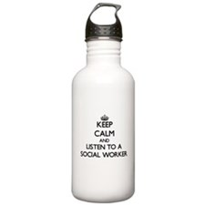 Keep Calm and Listen to a Social Worker Water Bott