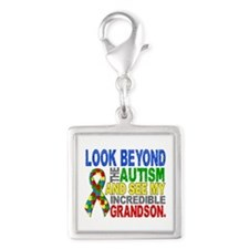 Look Beyond 2 Autism Grandson Silver Square Charm