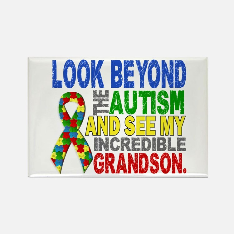 Look Beyond 2 Autism Grandson Rectangle Magnet