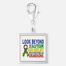 Look Beyond 2 Autism Grandson Silver Square Charm