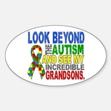 Look Beyond 2 Autism Grandsons Sticker (Oval)