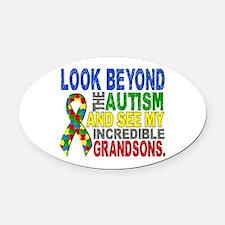 Look Beyond 2 Autism Grandsons Oval Car Magnet