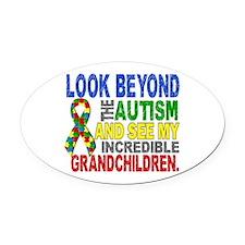 Look Beyond 2 Autism Grandchildren Oval Car Magnet