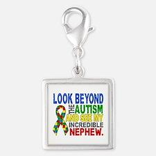 Look Beyond 2 Autism Nephew Silver Square Charm