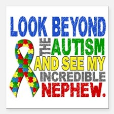 "Look Beyond 2 Autism Nep Square Car Magnet 3"" x 3"""