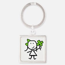 Girl & Clover Square Keychain