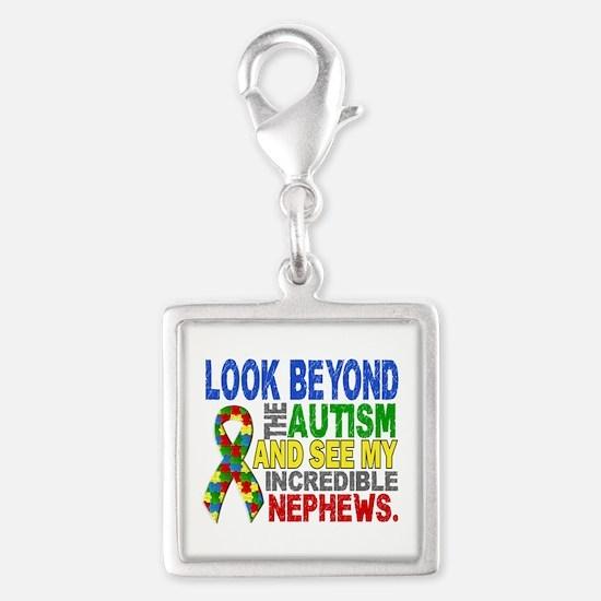 Look Beyond 2 Autism Nephews Silver Square Charm