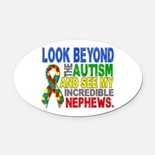 Look Beyond 2 Autism Nephews Oval Car Magnet