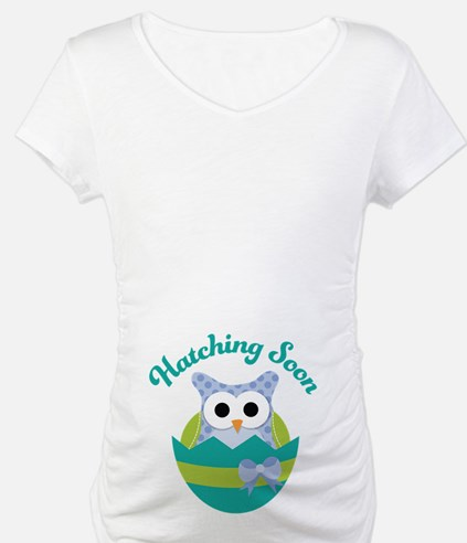 Hatching Soon Easter Owl Maternity Shirt