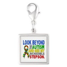 Look Beyond 2 Autism Stepson Silver Square Charm
