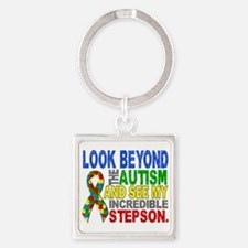 Look Beyond 2 Autism Stepson Square Keychain