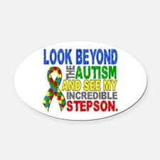 Look Beyond 2 Autism Stepson Oval Car Magnet