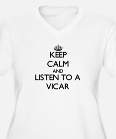 Keep Calm and Listen to a Vicar Plus Size T-Shirt