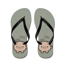 Cute Pink Pig Oink Flip Flops
