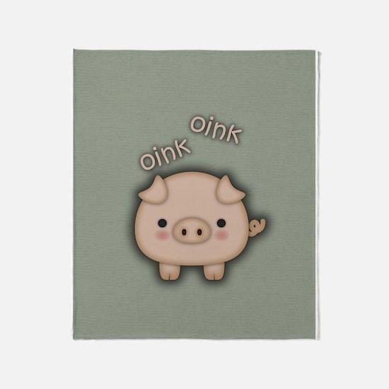Cute Pink Pig Oink Throw Blanket